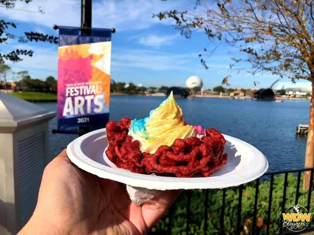 Epcot Festival of the Arts Red Velvet Funnel Cake 1
